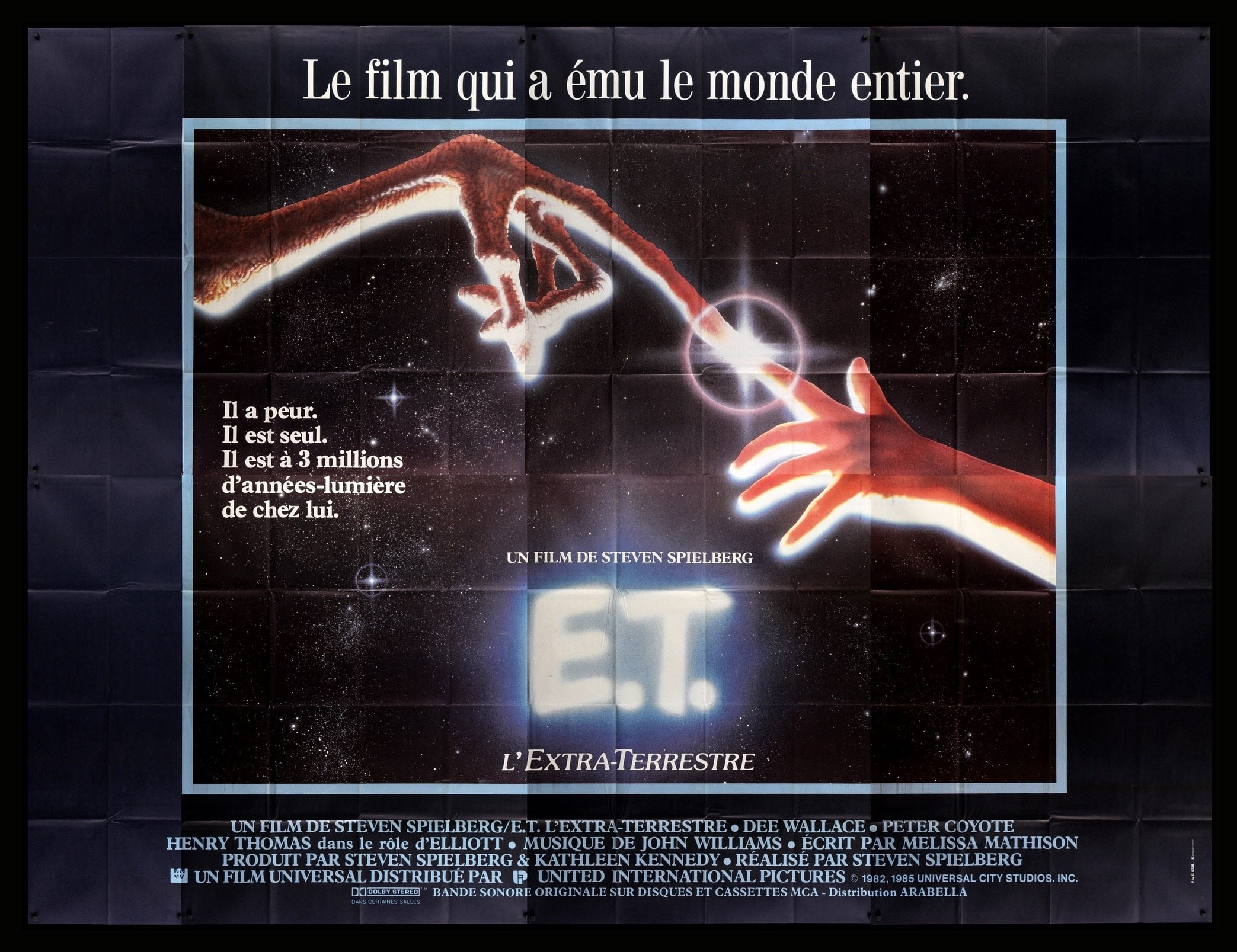 E T The Extra Terrestrial 1982 R1985 French 8 Panel Movie Poster Original Film Art Vintage Movie Posters
