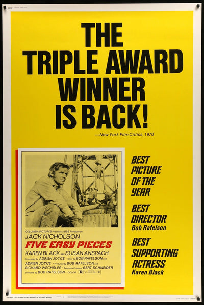 Movie Poster - Five Easy Pieces (1970)  - Original Film Art - Vintage Movie Posters