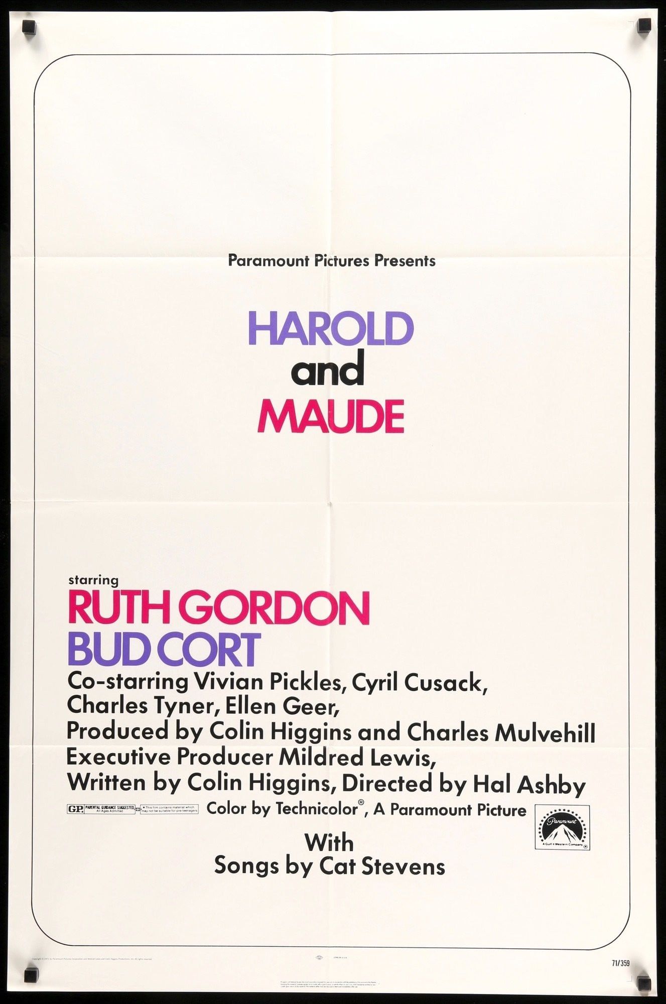 Harold and Maude Vintage Large Movie Poster Art Print A0 A1 A2 A3 A4 Maxi
