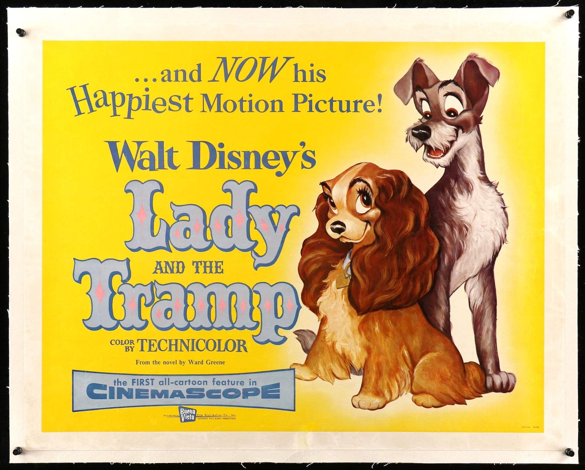 "Lady and the Tramp (1955) Original Half-Sheet Movie Poster - 22"" x ..."