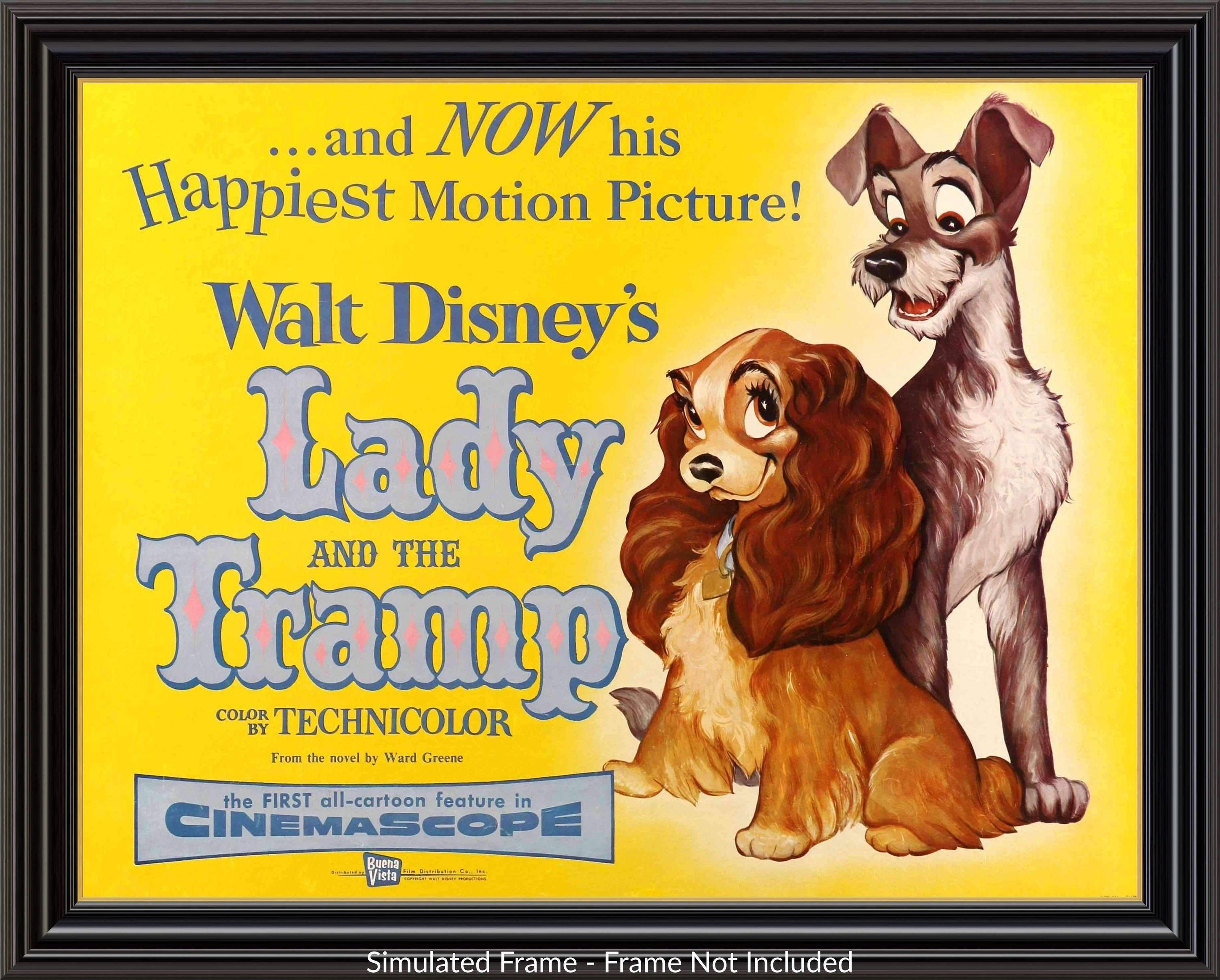 Lady And The Tramp 1955 Original Half Sheet Movie Poster 22 X 28 Original Film Art Vintage Movie Posters