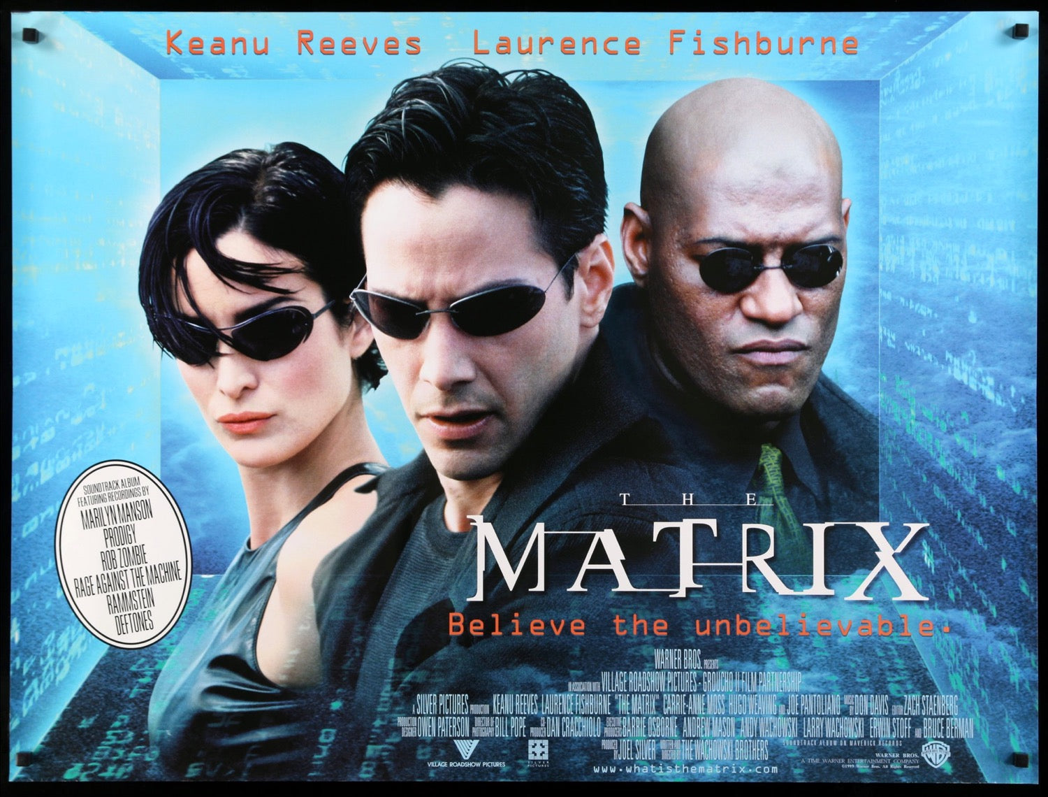 Movie Posters 1999: The Matrix (1999) Original British Quad Movie Poster