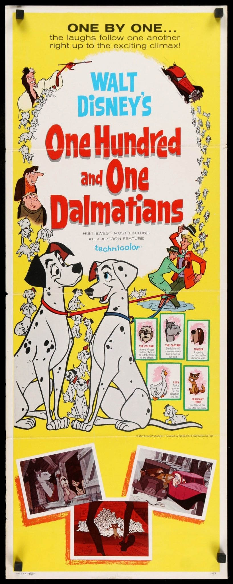 101 Dalmatians 1961 Original Insert Movie Poster Original Film Art Vintage Movie Posters