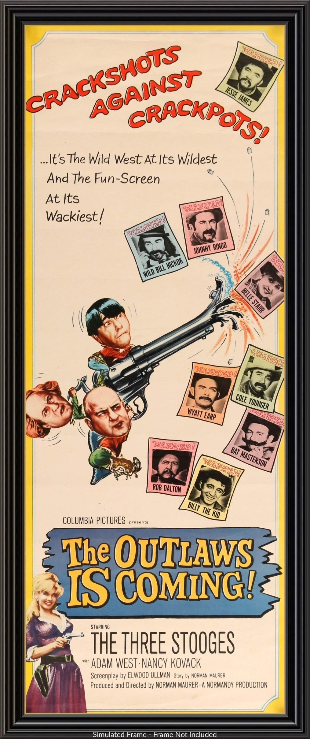 THE OUTLAW IS COMING MOVIE POSTER The Three Stooges