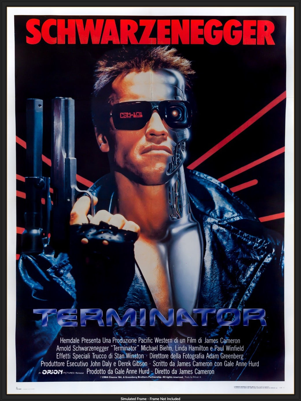 The Terminator (1984) Original Italian 2 Fogli Movie Poster - Original Film  Art - Vintage Movie Posters