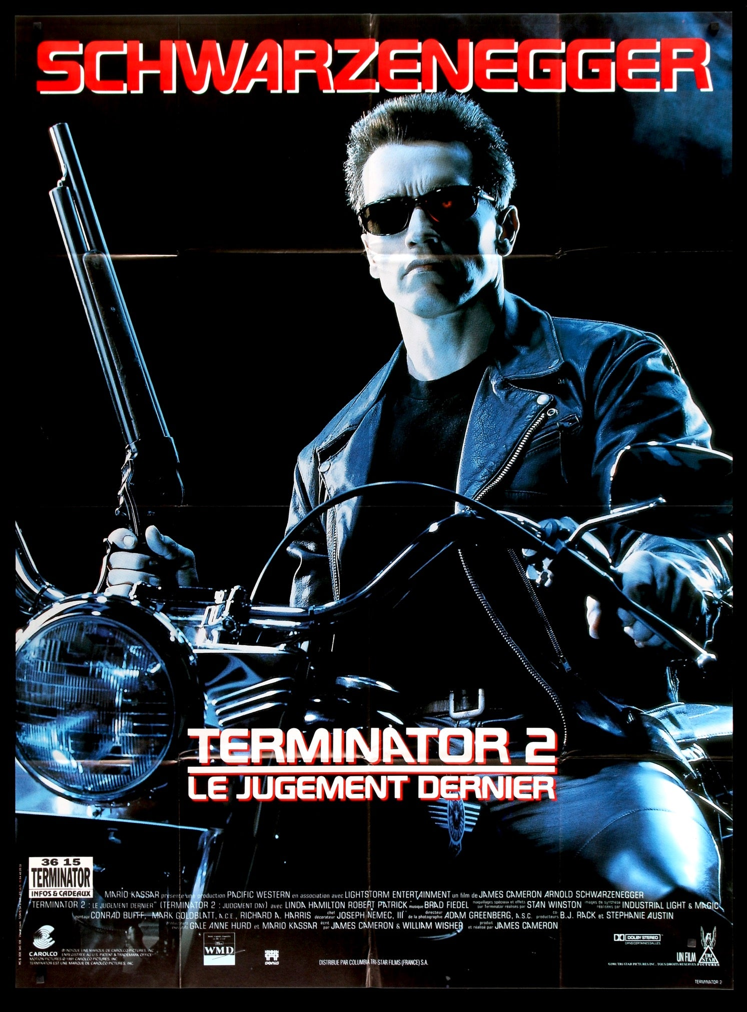 Terminator 2 Judgment Day 1991 French Movie Poster Original Film Art Vintage Movie Posters