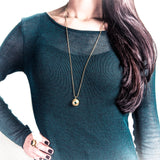 Gold Double Gem Dome Necklace - Fashionista Style