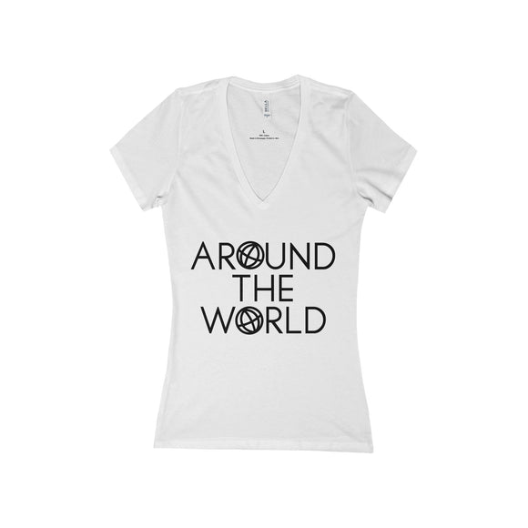 Around The World Deep V-Neck Jersey Tee - Fashionista Style