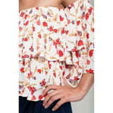 Red floral off shoulder top in white - Fashionista Style