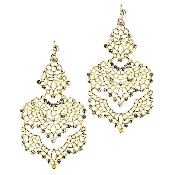 Gold Filigree Crystal Chandelier Earrings - Fashionista Style