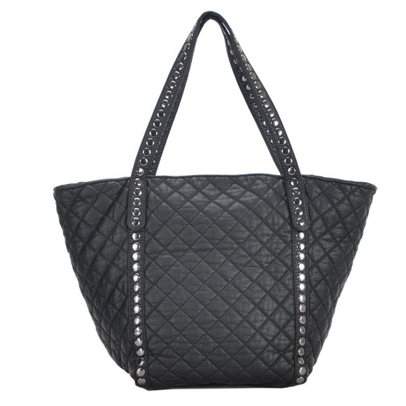Mechaly Women's Ivy Black Vegan Leather Tote Handbag - Fashionista Style