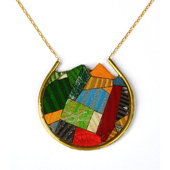 multi color end cut wood, circle necklace - Fashionista Style