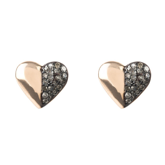 Diamond Half & Half Heart Earring - Fashionista Style