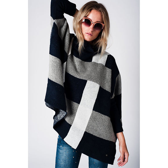 Navy Check Print Turtleneck Knitted Poncho - Fashionista Style