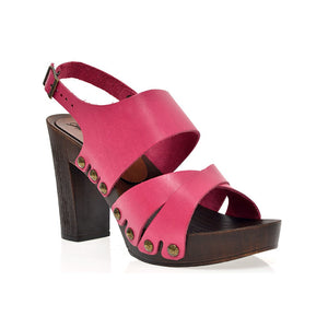 Leather platform sandal  in oak with back strap - Fashionista Style