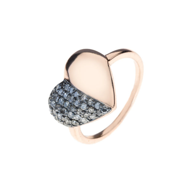 Diamond Half & Half Heart Ring Rosegold - Fashionista Style