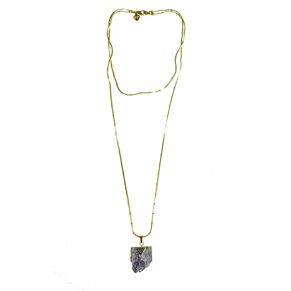 Double Chain Amethyst Pendant Necklace - Fashionista Style