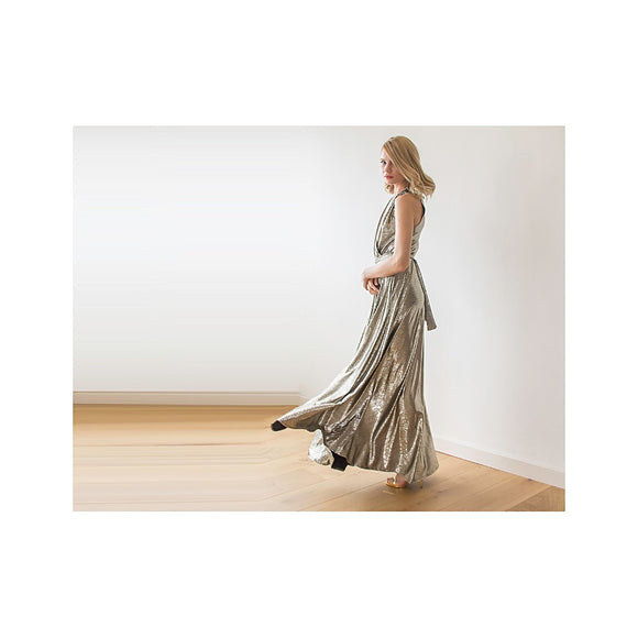Metallic maxi sleeveless dress with side pockets 1058 - Fashionista Style