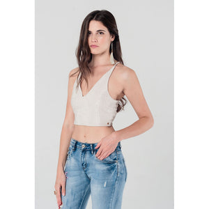 Crop top with crossed back in gold - Fashionista Style