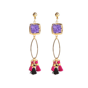 MAGNOLIA PURPLE DRUZY TASSEL EARRINGS - Fashionista Style