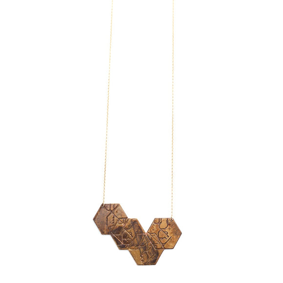 4 hexagon necklace - blackened brass - Fashionista Style