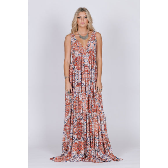SUNSET GOLD SLEEVELESS MAXI