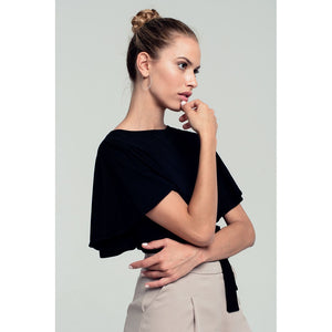 Ruffled sleeves black crop top with open back and bow detail - Fashionista Style