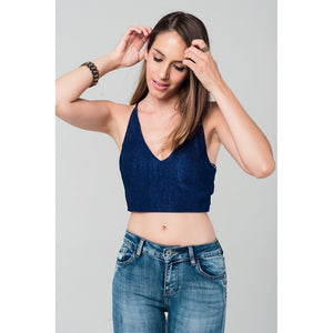 Crop top with crossed back in navy - Fashionista Style