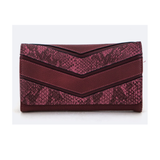 Burgundy Snake Color Block Wallet - Fashionista Style