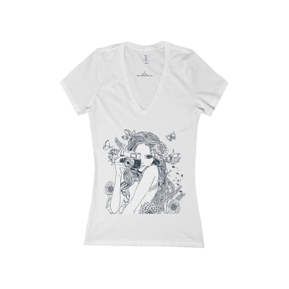 Camera Girl Deep V-Neck Jersey Tee - Fashionista Style