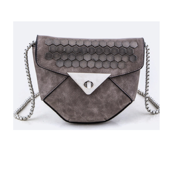 Bronze Studded Faux Leather Bag - Fashionista Style
