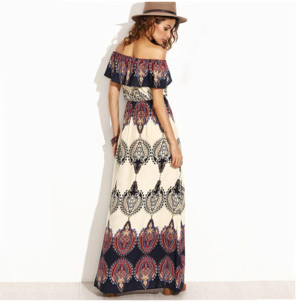 Bohemian Dreamer Off The Shoulder Maxi Dress