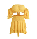 Burst of Sunshine Off The Shoulder Crop Top & Mini Skirt Set - Fashionista Style