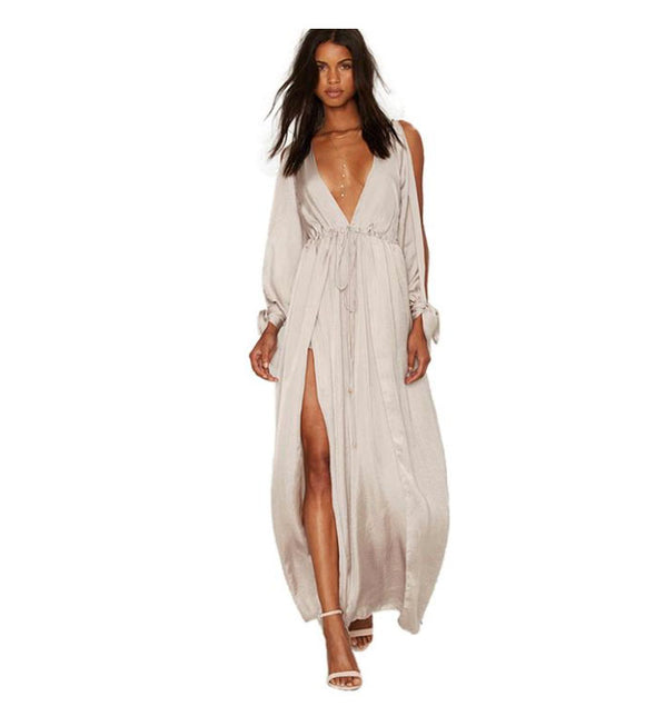 Light As Air Cold Shoulder Long Sleeve Plunge Neck Split Elegant Maxi Dress