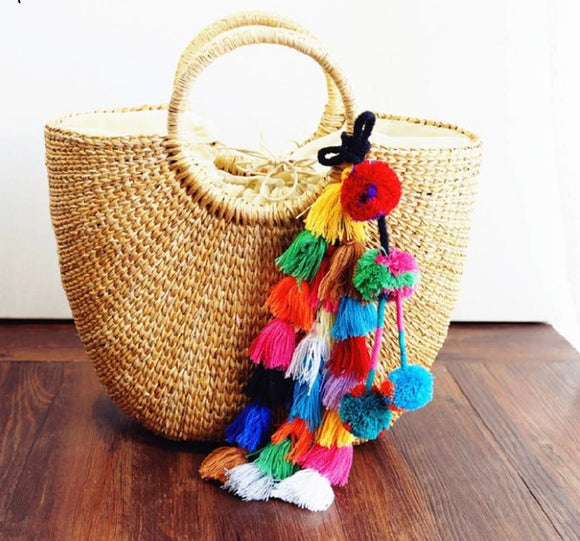 Enjoying Summer Straw Tote with Tassels