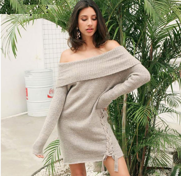 Google Me Off The Shoulder Lace Up Sweater Dress