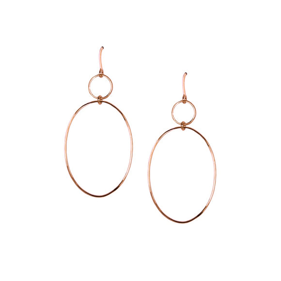 Rose Tone Double Hoop Earrings - Fashionista Style