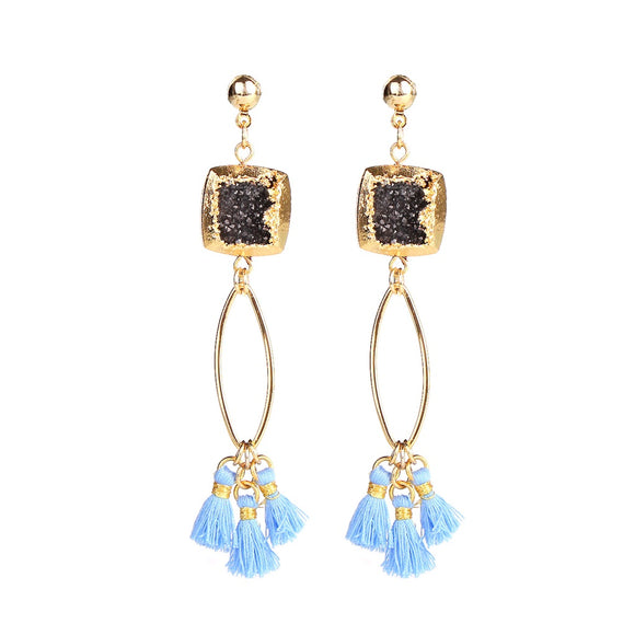 MAGNOLIA BLACK DRUZY STONE TASSEL EARRINGS - Fashionista Style