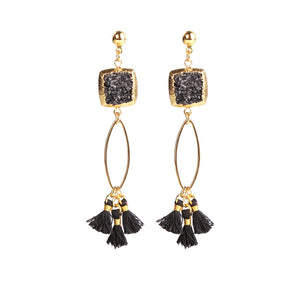 MAGNOLIA BLACK DRUZY TASSEL EARRINGS - Fashionista Style