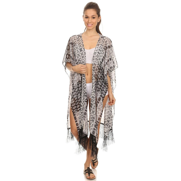 Womens Black and White Midi Poncho with Fringe - Fashionista Style