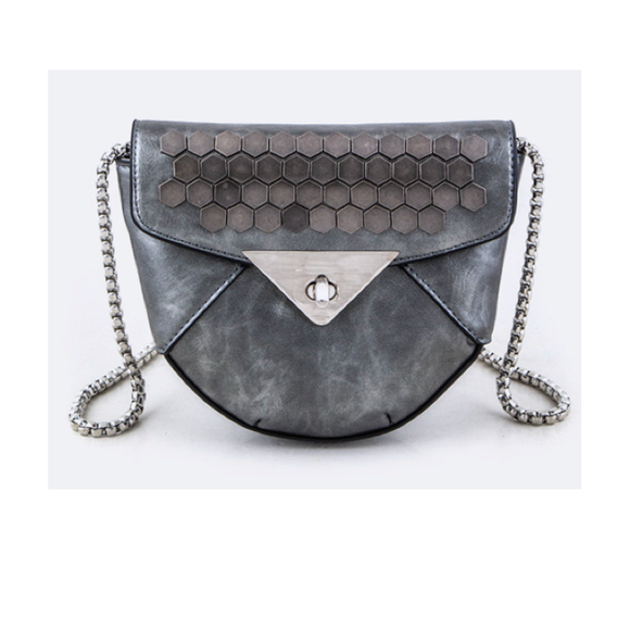 Grey Studded Faux Leather Bag - Fashionista Style