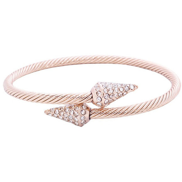 Twisted Rose Gold Crystal Spike Cuff - Fashionista Style