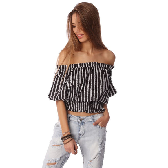 Black crop top in stripe with off shoulder - Fashionista Style