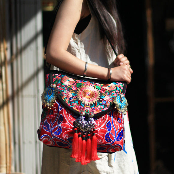 Bells & Whistles Hmong Embroidered Handbag - Fashionista Style