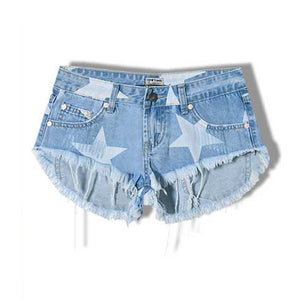 Approaching Stardom Stars Frayed Low Waist Denim Shorts - Fashionista Style