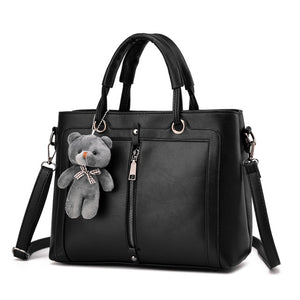 In Style Boss Chick Zipper Bear Shoulder Bag - Fashionista Style