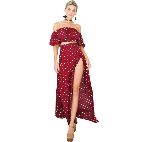 Dot To Dot Off Shoulder Top & Maxi Skirt - Fashionista Style