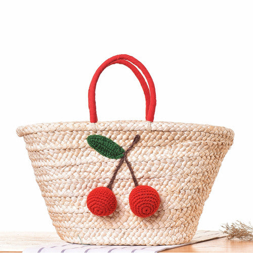 Cherry On Top Woven Straw Beach Bag