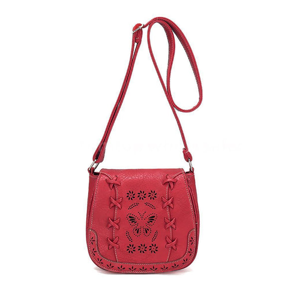 Go With The Flow Red Boho Butterfly Crossbody Bag - Fashionista Style