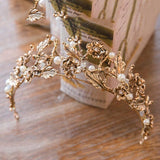 Queen Bee Vintage Gold Tiara with Pearls - Fashionista Style
